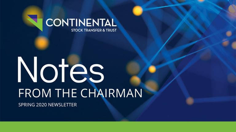 Notes From the Chairman Spring 2020 Newsletter